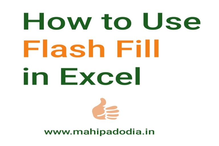 How to use Flash fill in excel