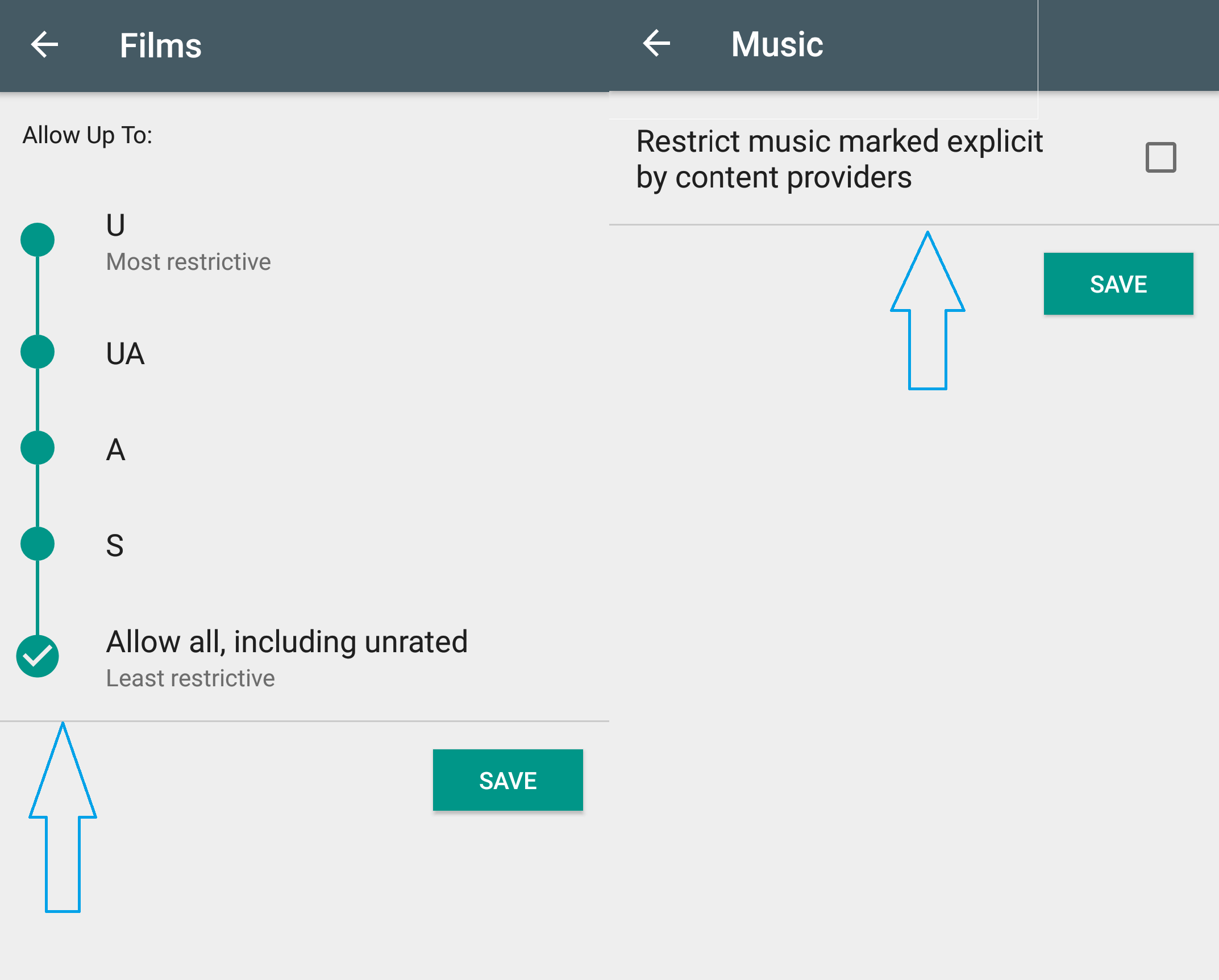 Play Store Setting Page