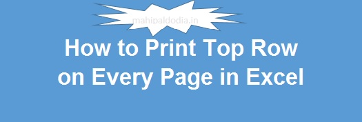 How to Print Top Row on Every Page in Excel